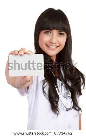 Nurse or young medical doctor woman showing business card isolated on white background