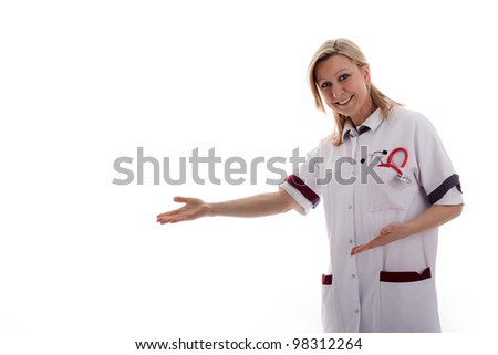 nurse shows in empty space