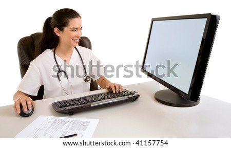 Nurse Sitting and Working at her Computer