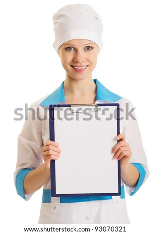 nurse with an advertising tablet on a white background