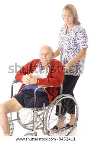 nurse with disabled elderly patient
