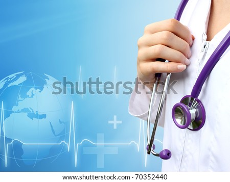 Nurse with medical blue background