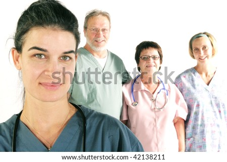 Nurse with team in background