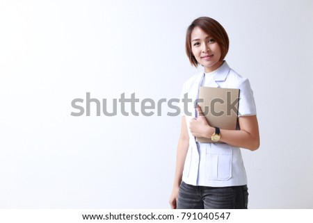 Nurse, Women, Asian and Indian Ethnicities, white background. #791040547