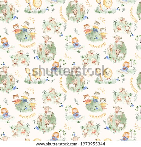 Nursery Rhyme animals watercolor illustration pattern for children and baby with cream background  Stock photo ©