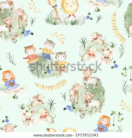 Nursery Rhyme animals watercolor illustration seamless pattern tile for children and baby with green background  Stock photo ©