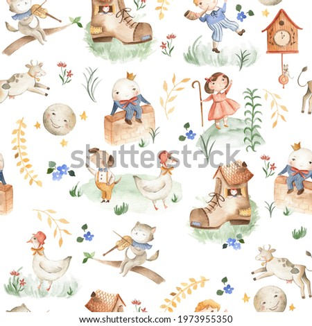 Nursery Rhyme animals watercolor illustration seamless pattern tile for children and baby  with Humpty Dumpty and other stories  Stock photo ©