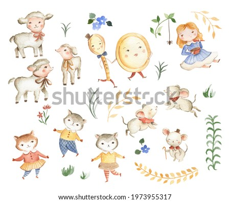Nursery Rhymes icons watercolor illustration Dish and Spoon and Mother Goose  Stock photo ©