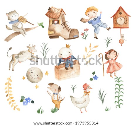 Nursery Rhymes icons watercolor illustration Humpty Dumpty cow over the moon and Mother Goose  Stock photo ©