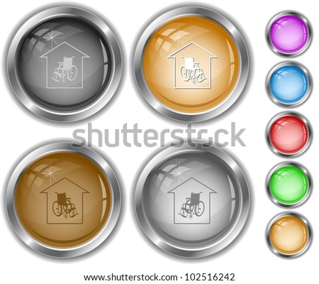 Nursing home. Raster internet buttons. Vector version is in portfolio.