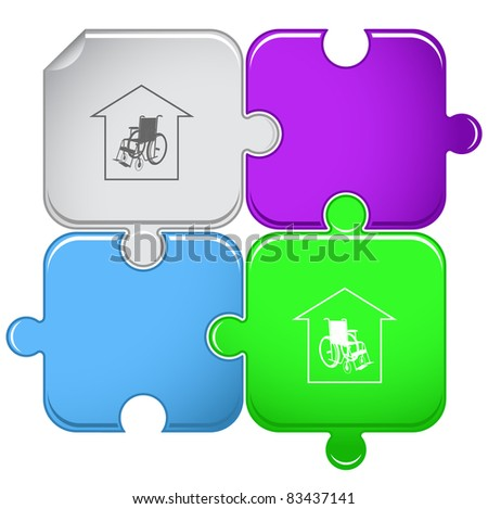 Nursing home. Raster puzzle. Vector version is in portfolio.