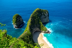 Nusa Penida, Bali, Indonesia. Manta Bay or Kelingking Beach on Nusa Penida Island, Bali. Nusa Penida is one of the most famous tourist attraction place to visit in Bali.