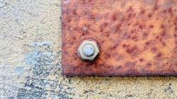 Nut, Bolt, Rust, The nut is rusted. Nut fastening the iron fence to be attached to the ground, outdoor, rust.