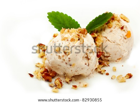 nut ice cream over white