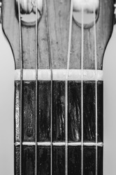 Nut, strings and frets between the headstock and the neck of a acoustic guitar. Old guitar, worn out and dusty, black and white photo.