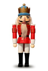 nutcracker isolated soldier figure christmas decoration wood