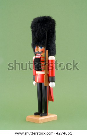Nutcracker Soldier Isolated on Green