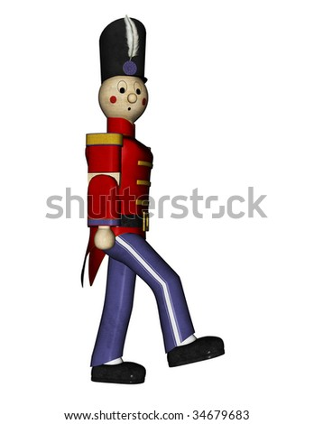 Nutcracker Suite Toy Soldier red uniform, side view marching. head turned toward camera. Illustration on clean white background.