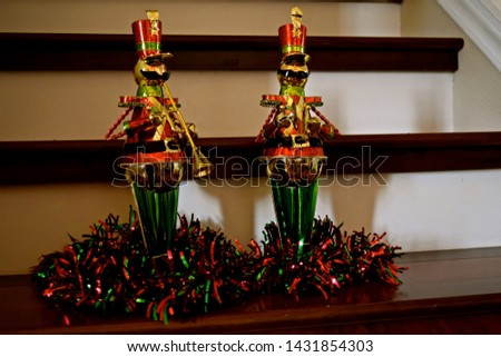 Nutcrackers made of metal and wood, either hanging as an ornament in the Christmas tree or just standing alone. Favorite Christmas soldiers. #1431854303