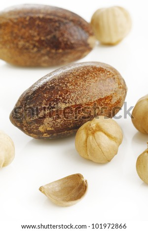 nutmeg and cardamom seed on white background