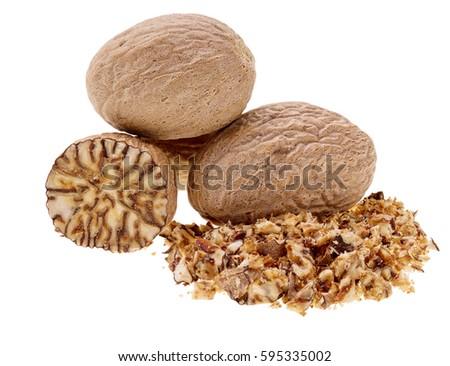 Nutmeg  isolated on white background, macro shot #595335002