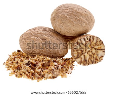 Nutmeg  isolated on white background, macro shot #655027555