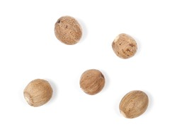 Nutmeg isolated on white background, top view