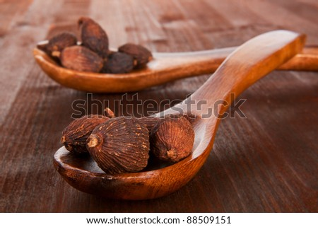 Nutmegs on wooden spoon on dark wooden background. Culinary nuts concept.