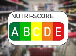 Nutri Score food labeling and food traffic light logo in a grocery store