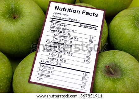 Nutrition facts of raw apples with apples background #367851911