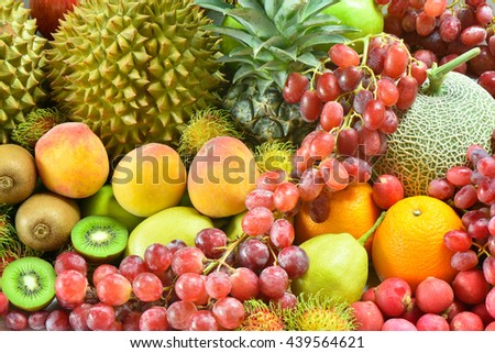 Nutrition fruits for dieting, Group of Various tropical fruits for healthy - Shutterstock ID 439564621