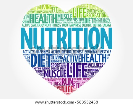 Nutrition heart word cloud, fitness, sport, health concept