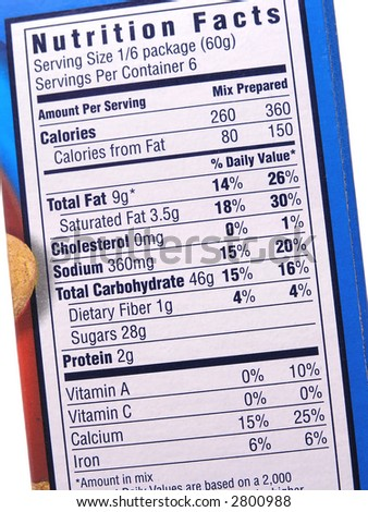 Nutrition label on blue box
