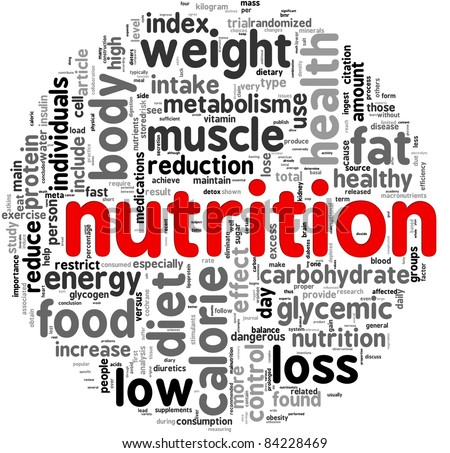 Nutrition related words concept in tag cloud