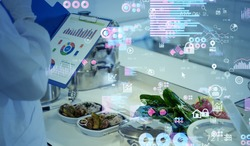 Nutrition science concept. Data analytics of foods.