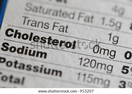 Nutritional facts label of side of box - stock photo