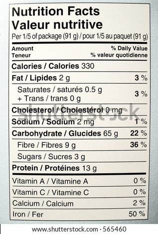 nutritional facts label of side of box of spaghetti - stock photo