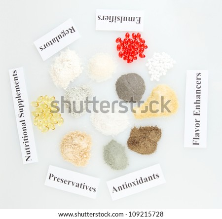 Nutritional supplements close-up