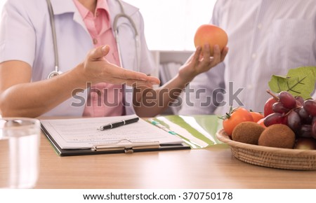 Nutritionists are instructions on how to eat a healthy diet. for the patient. dietician concept, dietetics concept.