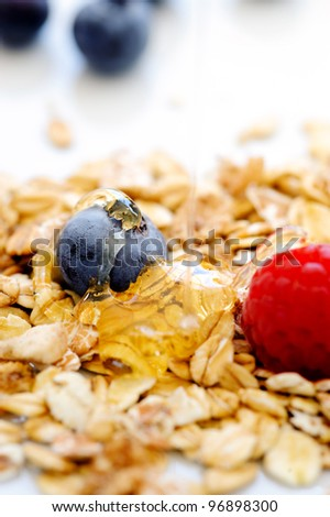 Nutritious oats with honey and blueberry and raspberry - stock photo