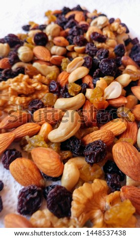 Nuts and almonds nuts. with raisins