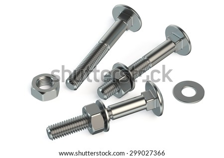 nuts and bolts closeup isolated on white background