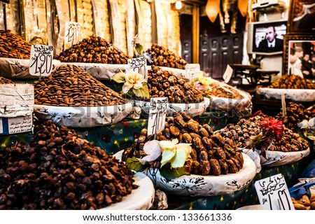 Nuts and dried fruit for sale in the souk of Fes, Morocco