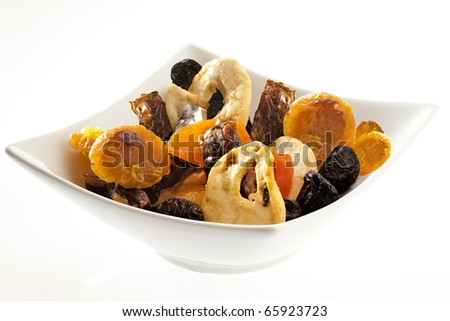 nuts and dried fruit in a  plate