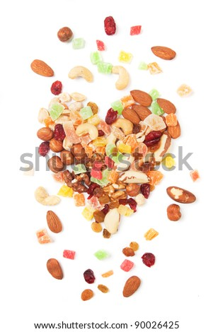 Nuts and dried fruit isolated on white background