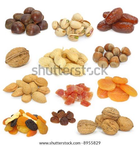 nuts and dried fruits collection on white #8955829