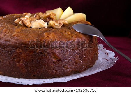 Nuts  and honey cake, selective focus