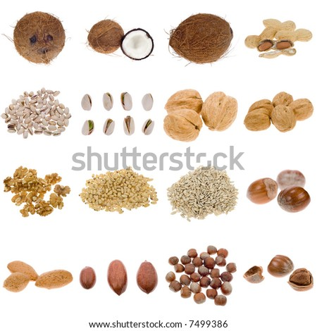 stock photo : nuts and seeds collection isolated on a white background,