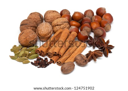 nuts and spices over white