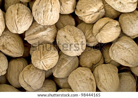 Nuts background at a local market - stock photo